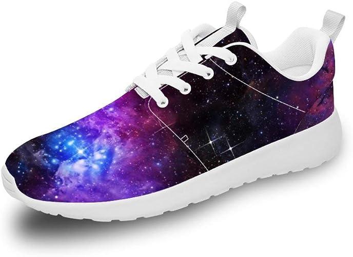 Mesllings Zapatillas de Running Unisex con diseño de Cielo Estrellado, Color Morado: Amazon.es: Zapatos y complementos