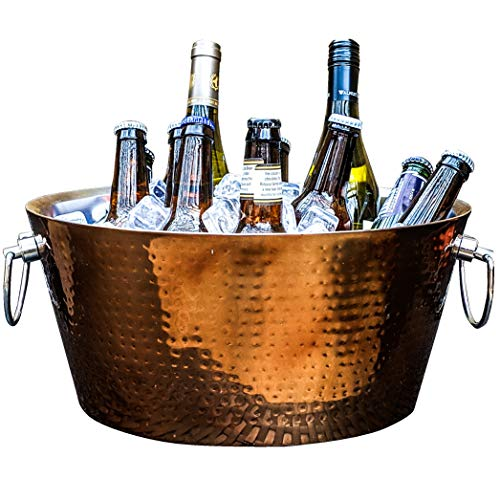 BREKX Hammered Rose Gold Stainless Steel Beverage Tub - Extended Insulation - 17 Quarts