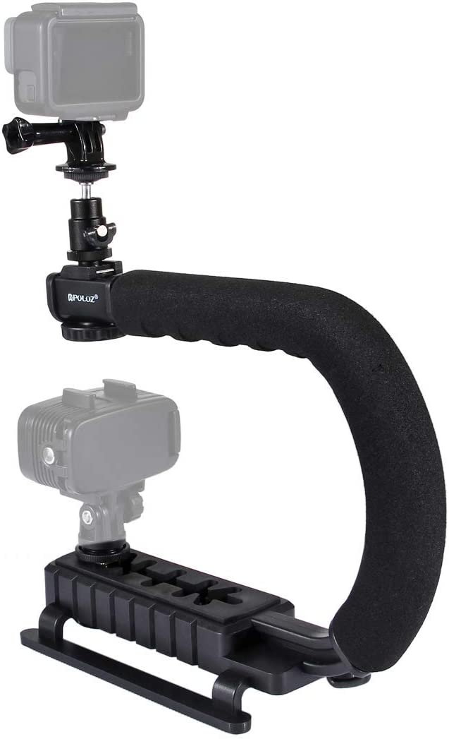CAOMING U//C Shape Portable Handheld DV Bracket Stabilizer Kit with Cold Shoe Tripod Head /&Phone Clamp /& Quick Release Buckle /& Long Screw for All SLR Cameras and Home DV Camera Durable