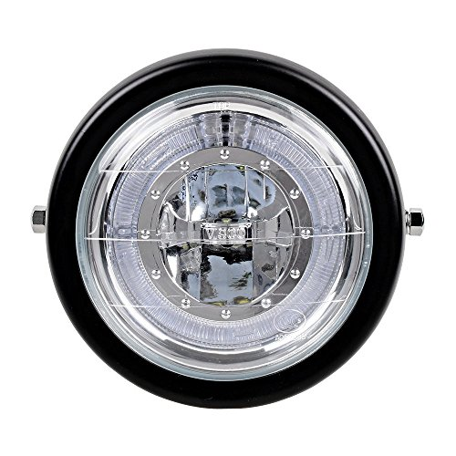 TASWK 6 1/2'' CREE LED Motorcycle Retro Black Clear Lens Headlight Halo Ring for Harley Bobber Cafe Racer Cruiser Vintage Style by TASWK (Image #1)