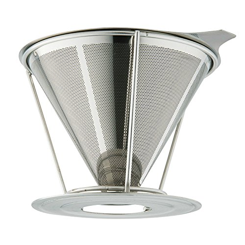 Marvellissimo Stainless Steel Pour Over Coffee Dripper - Reusable Double Layer Fine Mesh Filter Cone And Separate Stand Suitable for Large Single Serve Cup (1-4 Cups)
