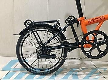 Brompton – Accesorio de mini equipaje trasero estante + 4 x fácil ruedas Black Edition ligero