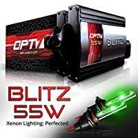 OPT7 BLTZ 55W H10 9040-9145 HID Kit - 3X Brighter - 3X Longer Life - All Bulb Colors and Sizes - 2 Yr Warranty [Monster Green Xenon]
