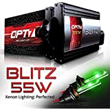 OPT7 Blitz 55w H11 H8 H9 HID Kit 5x Brighter - 4x Longer Life - All Bulb Colors and Sizes - 2 Yr Warranty [Monster Green Xenon Light]