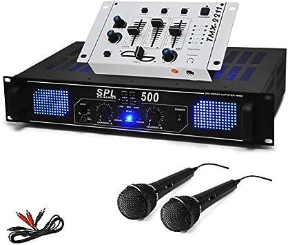 Set DJ PA DJ-96 Amplificador Mesa de Mezclas Micros 1600W ...