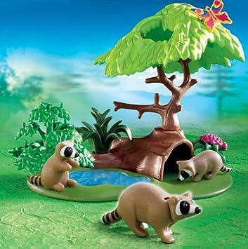 Playmobil 4205 Waschbären mit Höhle Tierpark