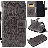 Appliances : NOMO iPhone Xs Max Case,iPhone Xs Max Wallet Case,iPhone Xs Max Flip Case PU Leather Emboss Mandala Sun Flower Folio Magnetic Kickstand Cover with Card Slots for iPhone Xs Max Gray