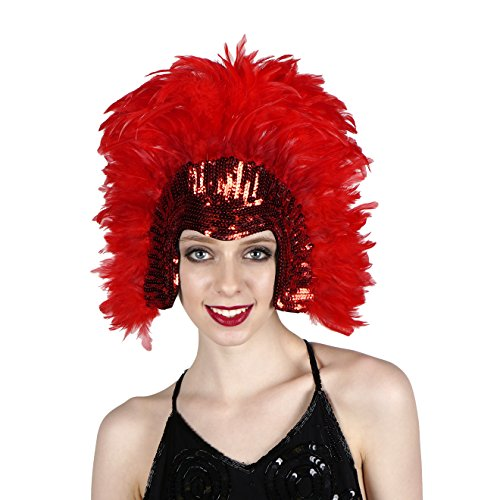 Red Carnival Costume Feather Headdress - Halloween Cosplay Party Hair Accessories -
