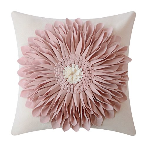 Floral Accent Pillow - OiseauVoler 3D Sunflowers Embroidered Throw Pillow Cases Handmade Decorative Cushion Covers for Home Sofa Car Bed Room Decor 18 x 18 Inch