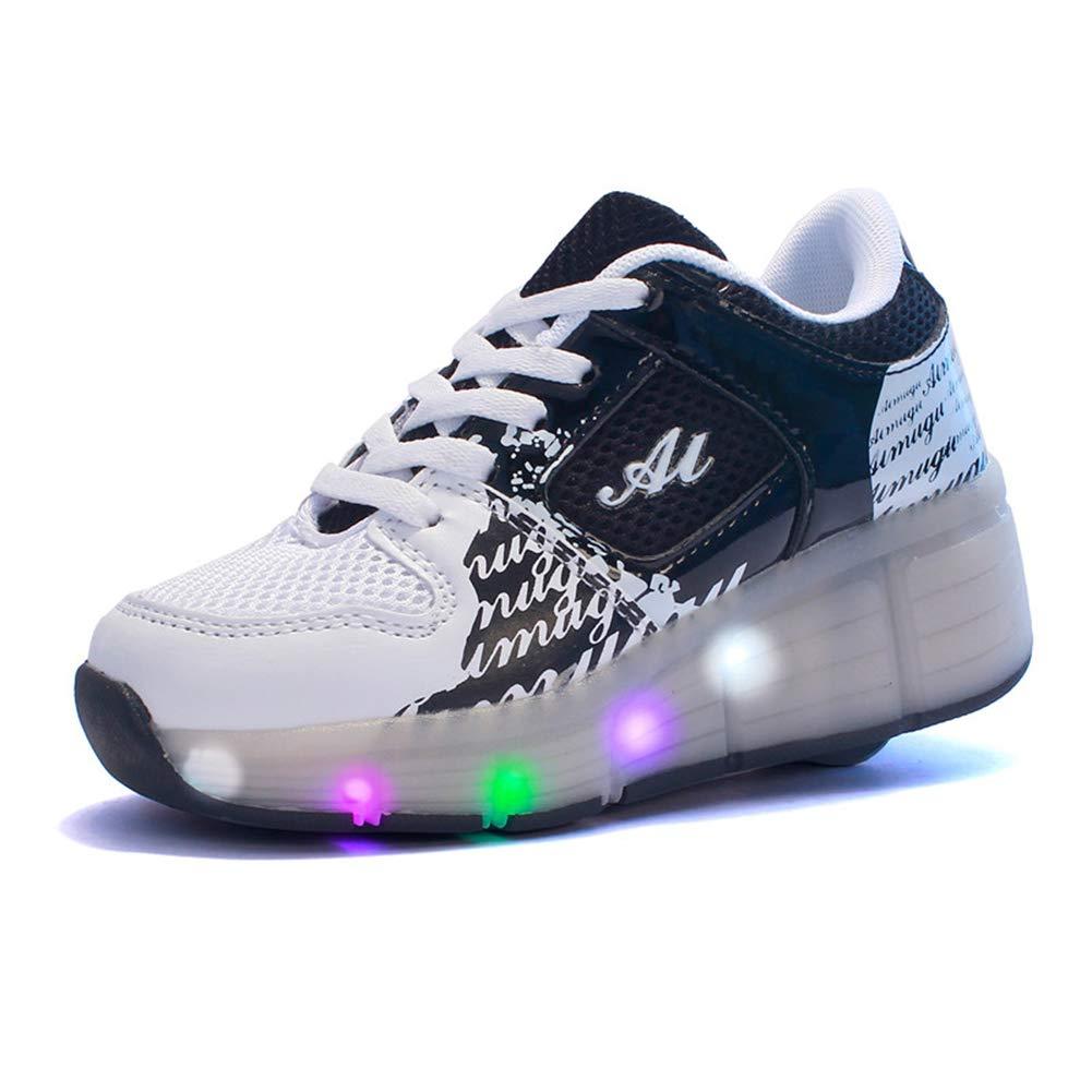 MNVOA Autom/ática Ruedas Ajustables LED Zapatillas con Luces Ruedas Color Deporte Zapatos de Skate Roller Deportivos Zapatos Trainers Monopat/ín Sneaker para Ni/ños Ni/ñas