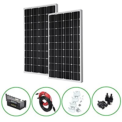 Best Cheap Deal for Unlimited Solar 200 Watt 12 Volt Mono Solar Panel Kit, Off-Grid, RV - 2 x 100W from Unlimited Solar - Free 2 Day Shipping Available