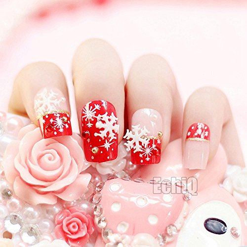 Snowflake French Nail Art Decoration Sexy Red Medium Full False Nails Tips for Christmas Lady Wear Manicure Accessories Z731]()