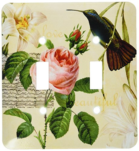 - 3dRose lsp_63549_2 Beautiful Hummingbird with Lilies and a Pink Rose Double Toggle Switch
