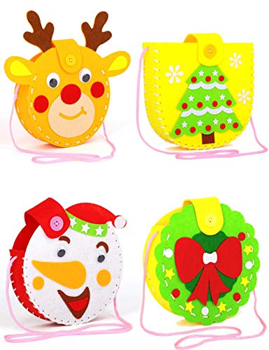 Mimgo-shop Christmas Craft for Kids, Felt Craft Sewing Handmade Gift for Child, DIY Girl Sewing Kit Christmas(4 Pack)