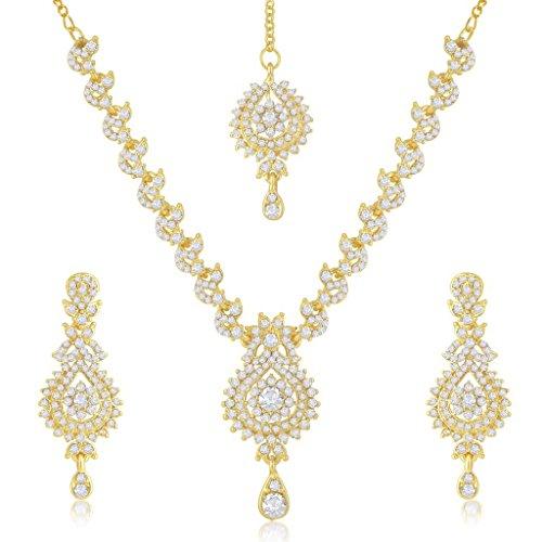 indien Collier Ensemble de bijoux Bollywood Mode de mariage élégant Doré AD