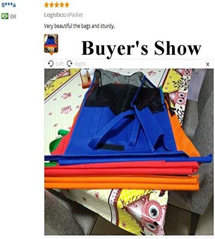 AGBFJY 4Pcs//Set Thicken Cart Trolley Supermarket Shopping Bags Portable Foldable Reusable Eco Friendly Shop Handbag Store Shopper Tote