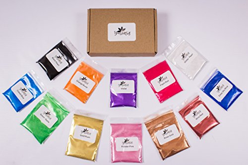 (Mica Powder Pigments, 12 Colors (10 grams each), Art/Craft Projects, Resin, Paint, Cosmetics, Soap, Slime, Bath Bombs)