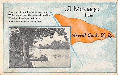 Averill Park New York Row Boat Waterfront Pennant Flag Antique Postcard K91685