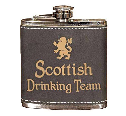 - Scottish Drinking Team 6oz Leather Flask