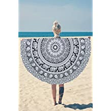 Round Wall Tapestry - Hanging MANDALA Tapestries – Bohemian Beach Picnic Blanket – Hippie Decorative & Psychedelic Dorm Decor - 48 Inch (White) by Craft N Craft India