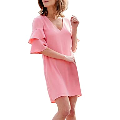 29cf80d2e69 Nikuya Womens Summer Cute Casual Brief Butterfly Sleeve Knee-Length Dress  (S