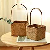 2 PCS Seagrass Flower Girl Basket for Wedding Ceremony Party Home Decor (Small & Large) (E, Yellow - Small & Large)
