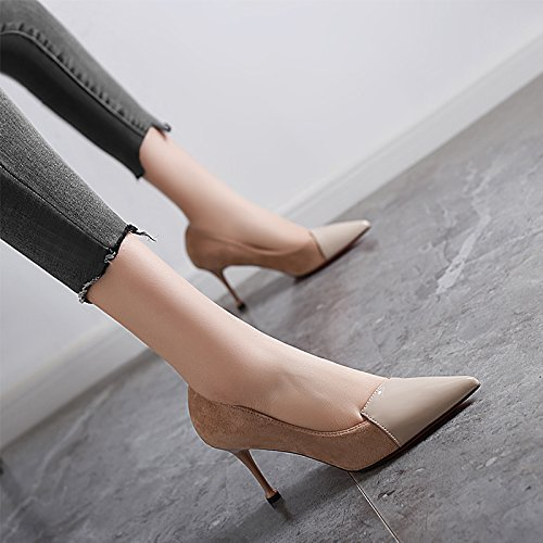 Spring Leisure Pointed Fine 8Cm MDRW Stitching Lady Shoes 38 Match A Work Etiquette Khaki With Elegant High All Shoes Heeled Suede FCCHItq