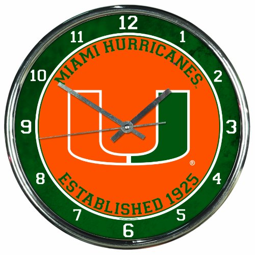 NCAA Miami Hurricanes Chrome Clock, 12