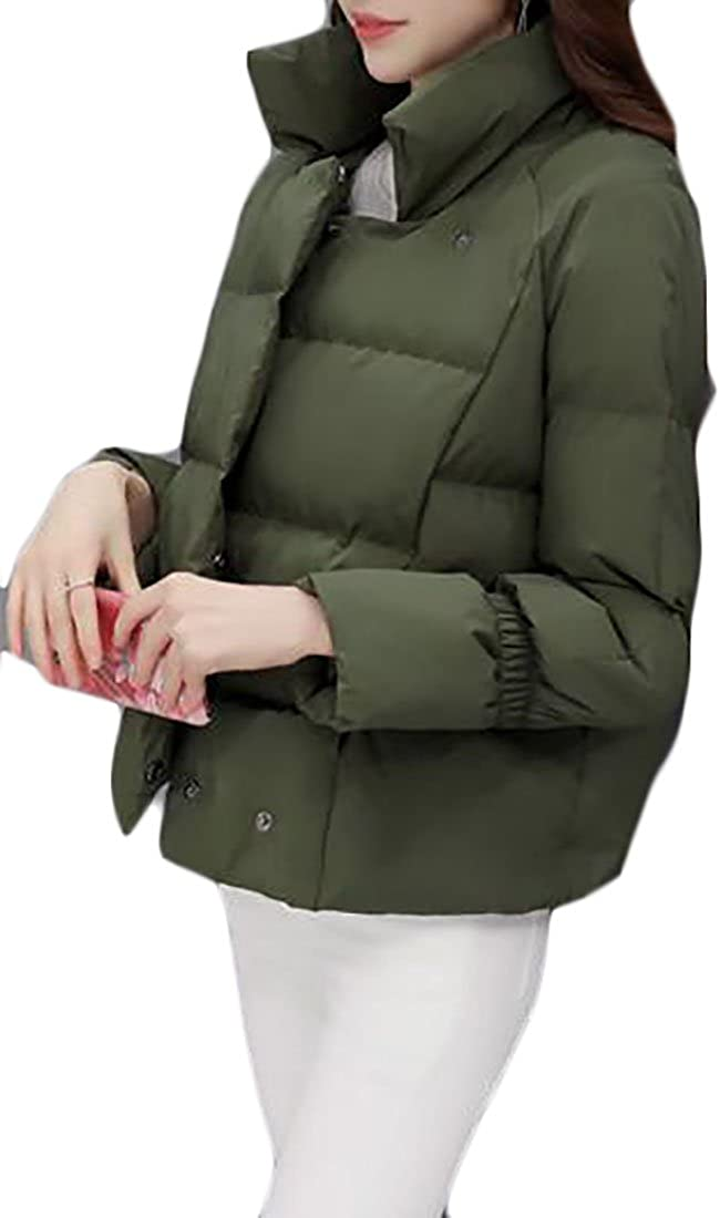 Cruiize Womens Winter Stand Collar Puffer Short Parka Jackets Outdoor Army green XL