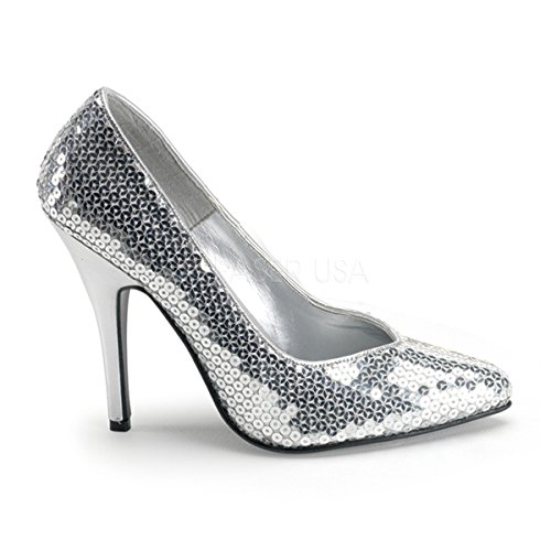 Seduce 420SQ Heels Funtasma Pailletten Silber High Pumps mit q1wWgaX