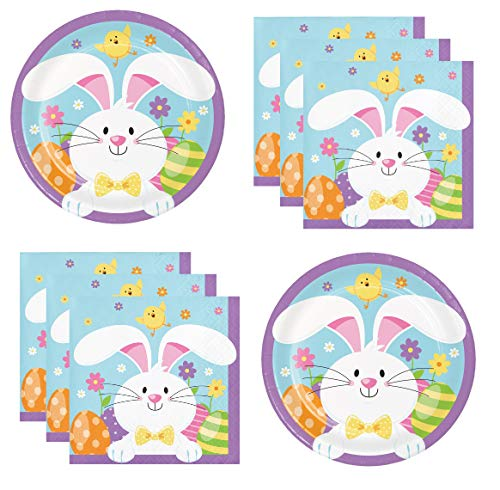 Happy Easter Party Supplies Paper Plates And Napkins for 24 -