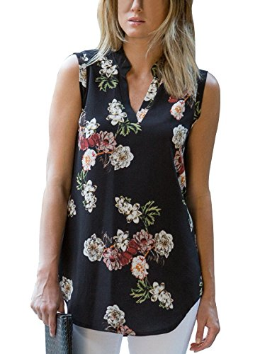 Flower Print Cami - Dokotoo Womens Tank Summer Sleeveless V Neck Flower Floral Print Boho Chiffon Tank Casual Tops and Blouse Juniors Shirts Black Large