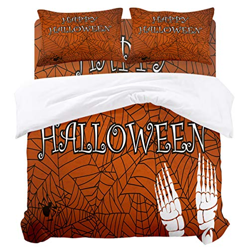 BABE MAPS Duvet Cover Set Happy Halloween Theme Bat Pattern Ultra Soft Breathable Extremely Durable Twill Plush 4 Piece Bedding Sets for Childrens/Kids/Teens/Adults, Queen Size