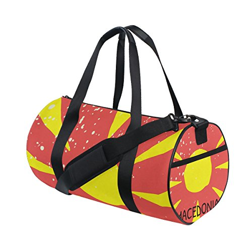 Distressed Macedonia Flag Travel Duffel Shoulder Bag ,Sports Gym Fitness Bags by super3Dprinted