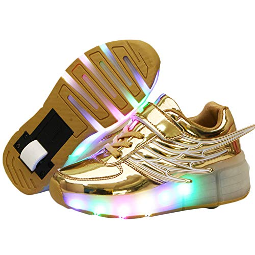 Ehauuo Unisex Roller Shoes Girls Roller Skate Shoes Boys Roller Sneakers LED Light up Wheel Shoes Kids Fashion LightweightSneakers Flash Gift (3 M US Little Kid, A-Golden)