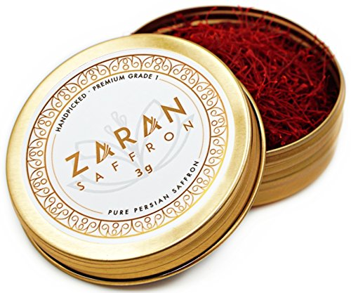 Zaran Saffron, (3 grams) Premium, All-Red Saffron (Highest Quality Saffron for your Tea, Paella, Risotto, and Persian Rice) Color 270+, Super Negin Saffron