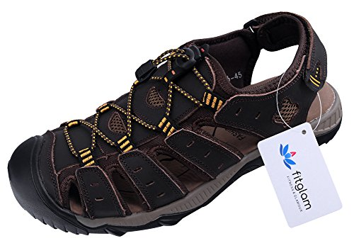 Fitglam Men's Leather Sandals Outdoor Water Sport Shoes (Italian Man Sandals compare prices)
