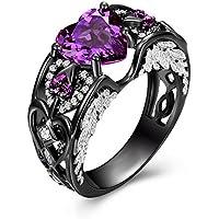 KassarinShop Heart Shape Purple Amethyst Black Gold Filled Angel Wings Women Wedding Ring Gift (5)