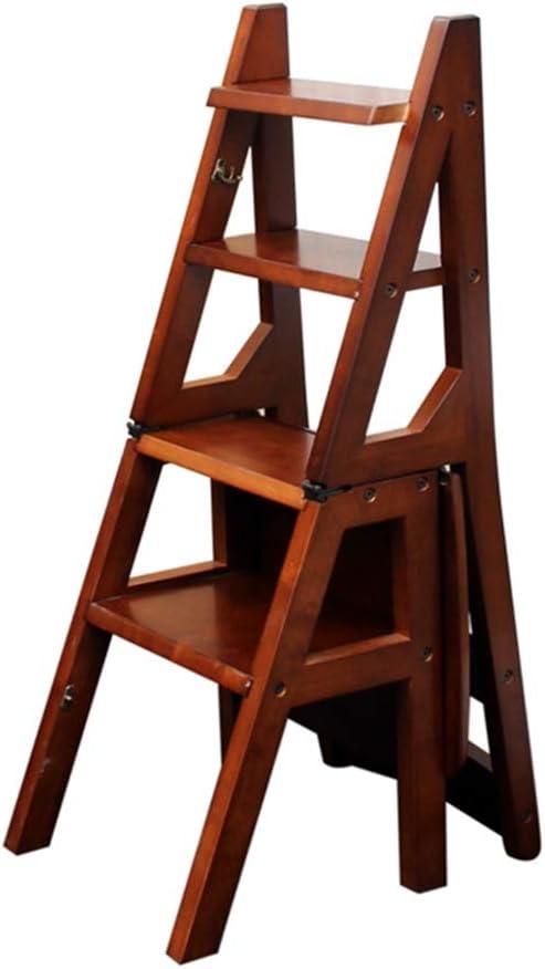Escalera Plegable de 4 peldaños, Escalera para taburetes, de Comedor de Madera Escaleras de Tijera para Adultos Niños, Herramienta de huerto doméstico Servicio Pesado Máx. 150kg en marrón: Amazon.es: Hogar