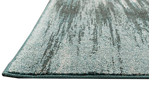 Teal amp Gray Stripes Traditional Distressed 5 x 8  5#039 3quot X 7#039 7quot  Area Rug Modern Vintage Transitional Rug Soft Living Dining Room Contemporary Area Rug
