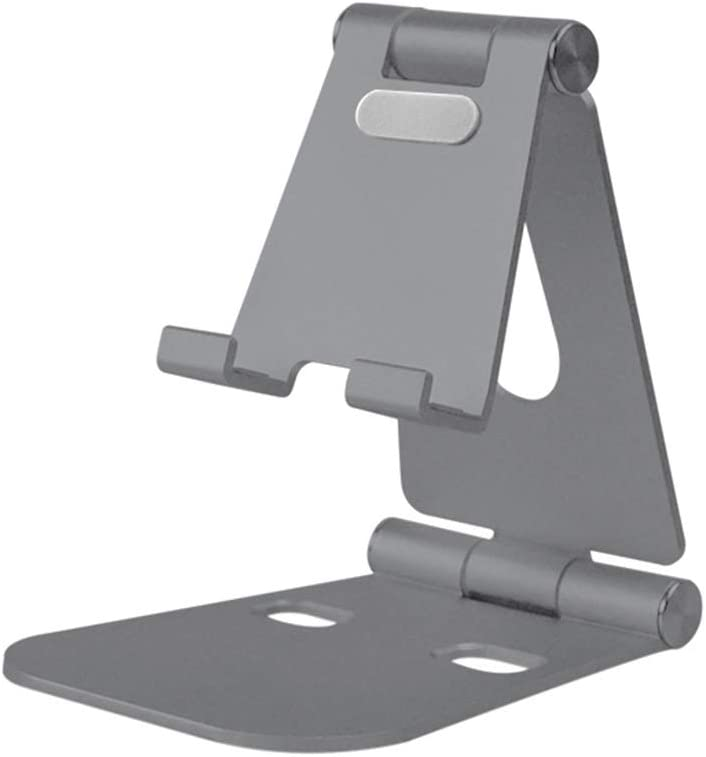 Color : Gray Jiabei Pad Flat Stand Desktop Lazy Mobile Phone Flat Bracket Non-Slip Aluminum Alloy Can Be Freely Retractable for Office /& Home