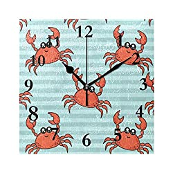 FunnyCustom Cute Crabs Square Wall Clock 7.8 Inch Hanging Clock for Living Room/Kitchen/Bedroom