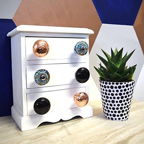 Murano Furniture Set (Set of 6 Copper, Black Granite & Turquoise Murano Glass Cupboard Cabinet Door Pulls Knobs)