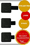 6 PACK - 3 SIZES Pen Loops to FIT ANY PEN SIZE - Never Lose your Pen Again, Apple Pencil or Stylus - SECURE HOLD: Strong Adhesive & Durable - for Office or Home Use (Black Embosed)