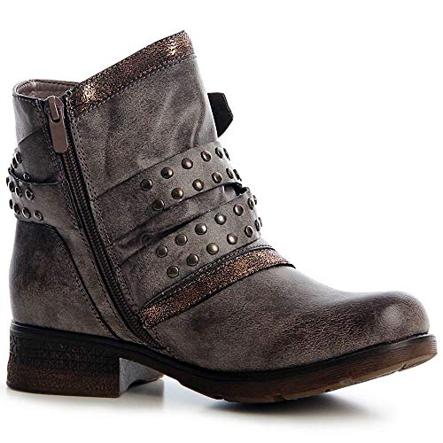Boots Grismarrón Topschuhe24 Botines Worker Mujer Botín xIXpwPqX