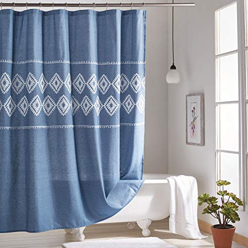 Peri Home Blue Chambray Geometric Boho Chic Fabric Shower Curtain for Bathroom, 72 x 72 inches, Blue