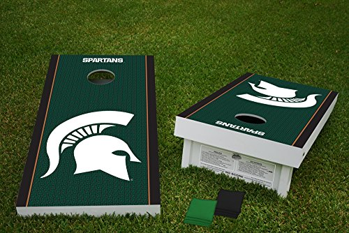 16 Ounce Sack (Michigan State Spartans Cornhole Game Bean Bag Toss Tailgate Set Wooden Regulation Size 24 x 48 with 8 Official 16oz Bags)