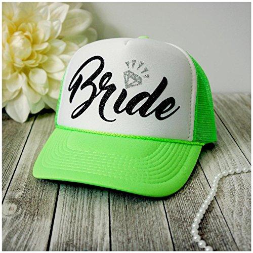 Neon Bachelorette Party Bride Tribe Mesh Trucker Snap Back Hat (Neon Green/White Hat, Black Bride), One Size