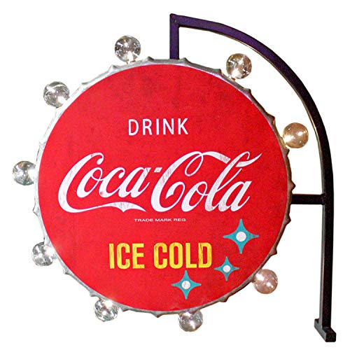 Coca-Cola Reproduction Vintage Advertising Sign - Battery Powered LED Lights, Double Sided Bottlecap Metal Marquee Display - 25 x 16 x 4 inches