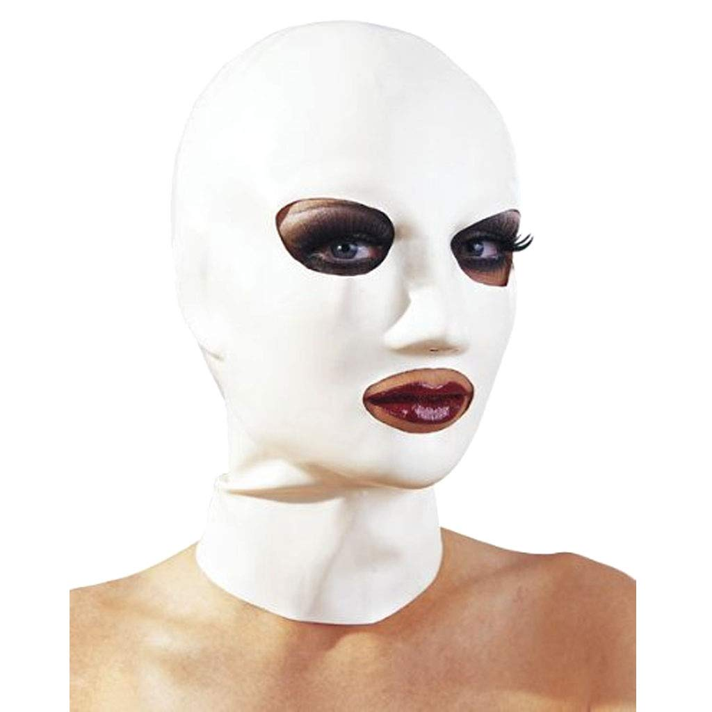 TINGSHOP White Eyes and Mouth Open Mask, 100% Natural Latex SM Fetish Porn Restriction Convertible White Bondage Mask Halloween Mask,White,S by TINGSHOP